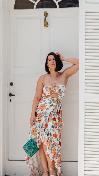 POLLY FLORAL HIGH LOW MAXI DRESS