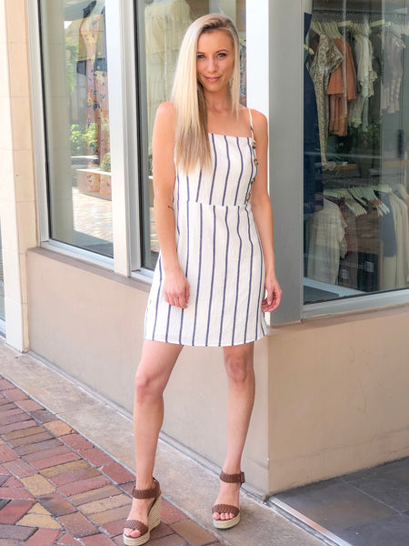 AROURY STRIPE SIDE BUTTONS DRESS