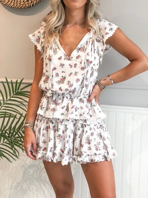 ANAIS LACE TRIM TIERED DRESS