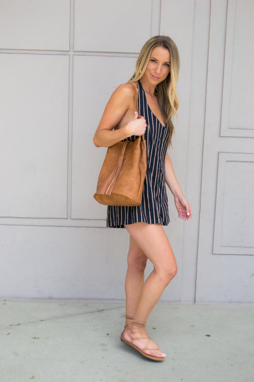 TAMILA STRIPE BACKLESS ROMPER