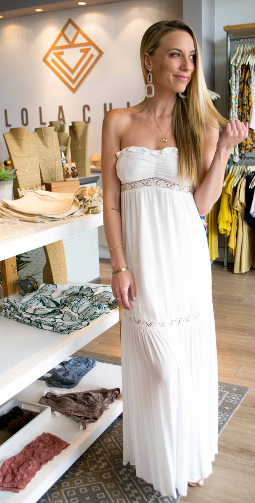 FALLON STRAPLESS LACE DETAIL MAXI