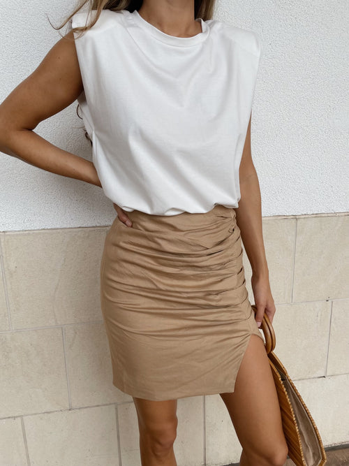 TAN BLISS RUCHED SKIRT