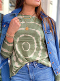 EASY DOES IT OLIVE GREEN TIE DYE SWEATER