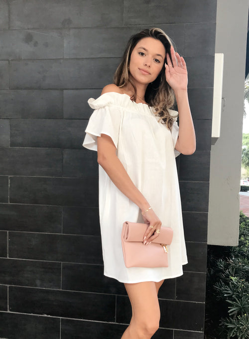 THEA OFF THE SHOULDER LINEN DRESS