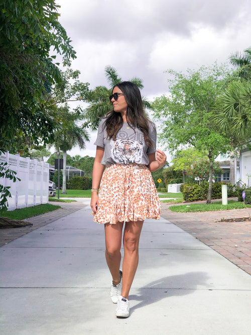 AMELIE ORANGE LEOPARD RUFFLE SKIRT