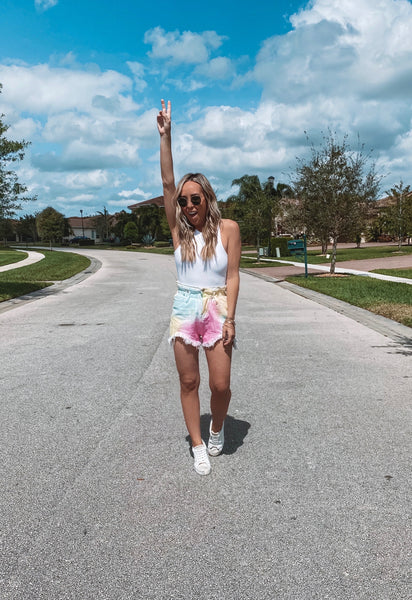 ROLLY TIE DYE HIGH WAISTED SHORTS
