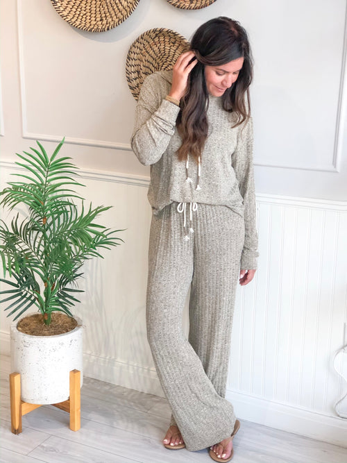 MARA SET RIB HOODIE TOP AND LOUNGE PANTS