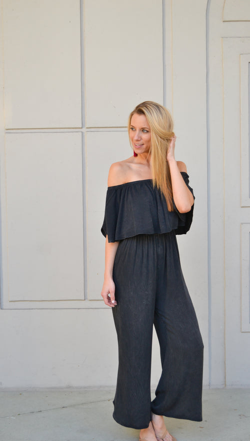ROMA DYE WASH OFF THE SHOULDER JUMPSUIT