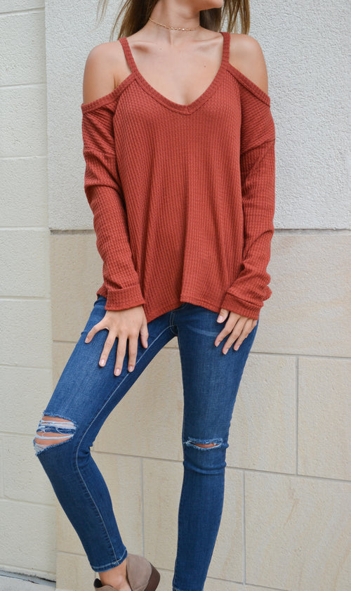 REESE COLD SHOULDER WAFFLE KNIT TOP