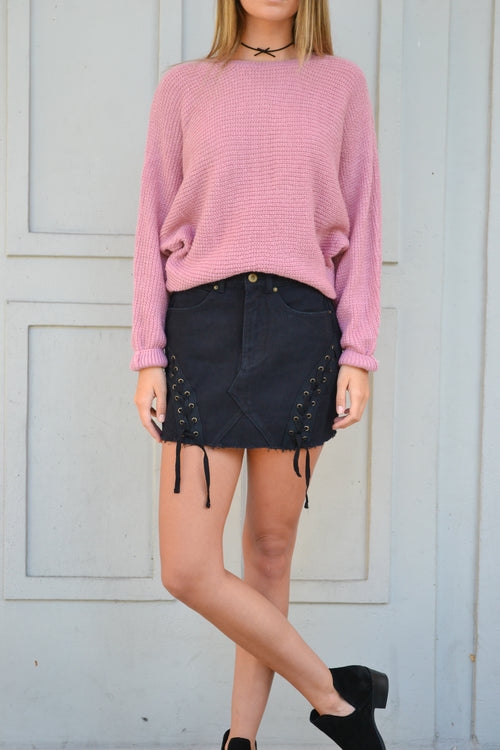 ALEXIS BLACK LACE UP SKIRT