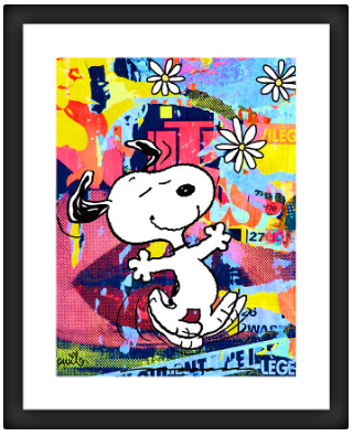 Snoopy Psychedelic Daisies - Framed