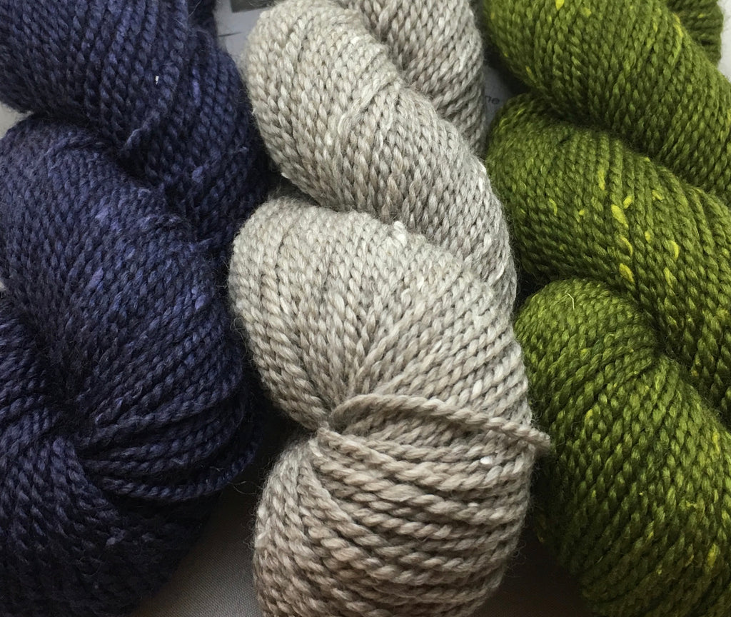 Fibre Company Acadia is a rustic DK weight blend of silk noil, baby alpaca and merino wool.