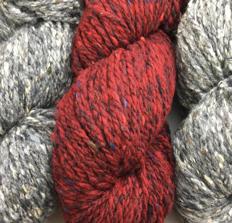 Fibre Company  Arranmore is an aran weight tweedy blend of fine merino wool, cashmere, and silk.