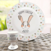 Load image into Gallery viewer, Personalised Hoppy Easter Bone China Plate and Egg Cup