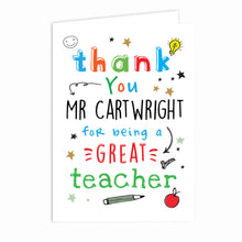 Load image into Gallery viewer, Personalised Thank You Teacher Card