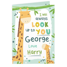 Load image into Gallery viewer, Personalised Look Up To You Giraffe Card