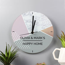 Load image into Gallery viewer, Personalised Geometric Glass Clock