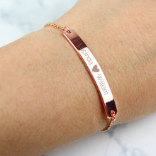 Load image into Gallery viewer, Personalised Rose Gold Tone Heart Bar Bracelet