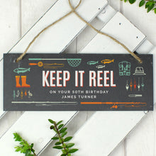 "Load image into Gallery viewer, Personalised ""Keep It Reel"" Printed Hanging Slate Plaque"