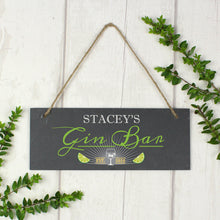 "Load image into Gallery viewer, Personalised ""Gin Bar"" Printed Hanging Slate Plaque"