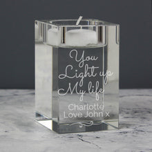 Load image into Gallery viewer, Personalised You Light Up My Life Glass Tea Light Holder