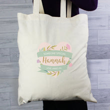 Load image into Gallery viewer, Personalised Floral Heart Mothers Day Cotton Bag