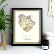 Load image into Gallery viewer, Personalised 1896 - 1904 Revised Map Heart Black Framed Print