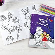 Load image into Gallery viewer, Personalised 'It's Christmas' Fairy Colouring Book with Pencil Crayons