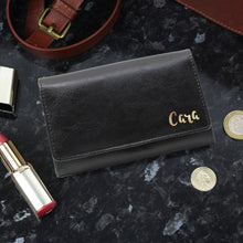 Load image into Gallery viewer, Personalised Gold Name Black Purse