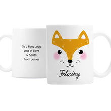 Load image into Gallery viewer, Personalised Cute Fox Face Mug
