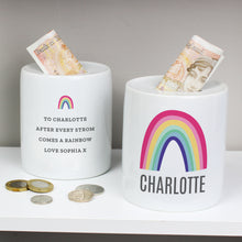 Load image into Gallery viewer, Personalised Rainbow Ceramic Money Box