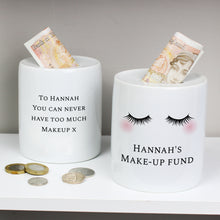 Load image into Gallery viewer, Personalised Eyelashes Ceramic Money Box