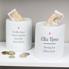 Load image into Gallery viewer, Personalised Pink Heart Motif Ceramic Money Box