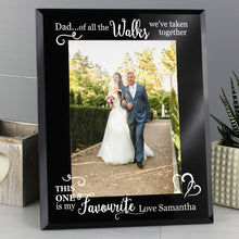 Load image into Gallery viewer, Personalised Of All the Walks... Wedding 5x7 Black Glass Photo Frame