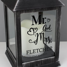 Load image into Gallery viewer, Personalised Mr and Mrs Rustic Black Lantern