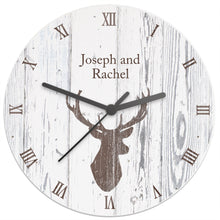 Load image into Gallery viewer, Personalised Highland Stag Shabby Chic Wooden Clock