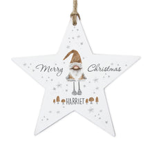 Load image into Gallery viewer, Personalised Scandinavian Christmas Gnome Wooden Star Decoration