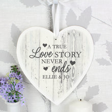 Load image into Gallery viewer, Personalised Love Story Large Wooden Heart Decoration