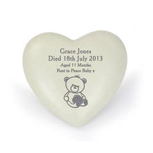 Load image into Gallery viewer, Personalised Teddy Bear Heart Memorial