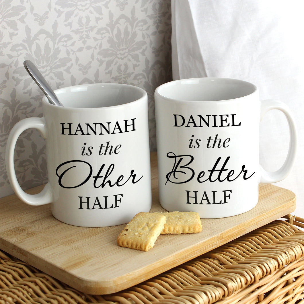 Personalised Other Half and Better Half Mug Set