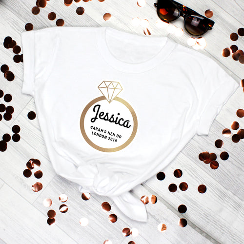Personalised Gold Bling Ring Hen Party T-Shirt (more options)
