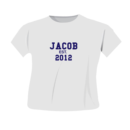 Personalised Established Blue Or Pink Text T-Shirt (more options)