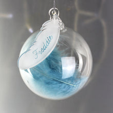 Personalised Feather Glass Bauble (more colours)