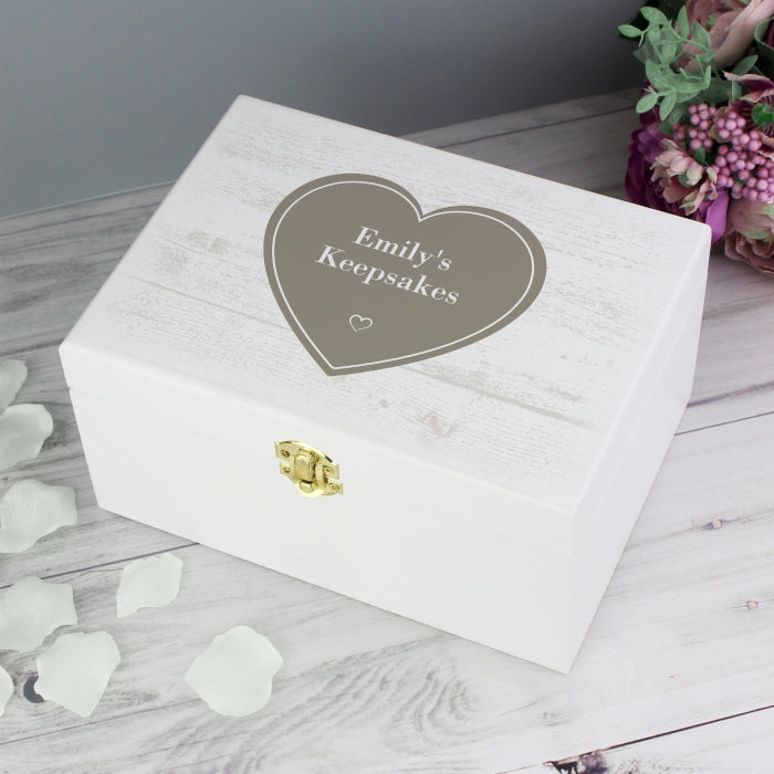 Personalised Rustic Heart White Wooden Keepsake Box