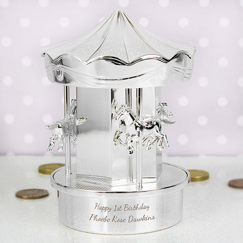 Personalised Silver Plated Carousel Money Box
