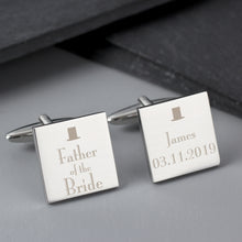 Load image into Gallery viewer, Personalised Decorative Wedding Father of the Bride Square Cufflinks