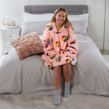 Load image into Gallery viewer, Rainbow Hearts Hoodie Blanket - Blush