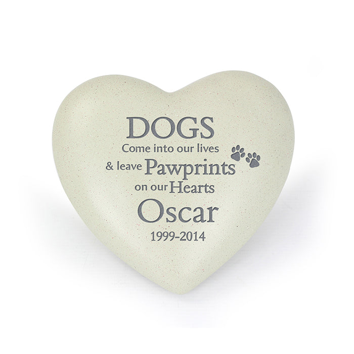 Dog Paw Prints Heart Memorial