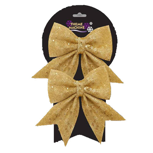 Gold Glitter Bow (Pack Of Two)