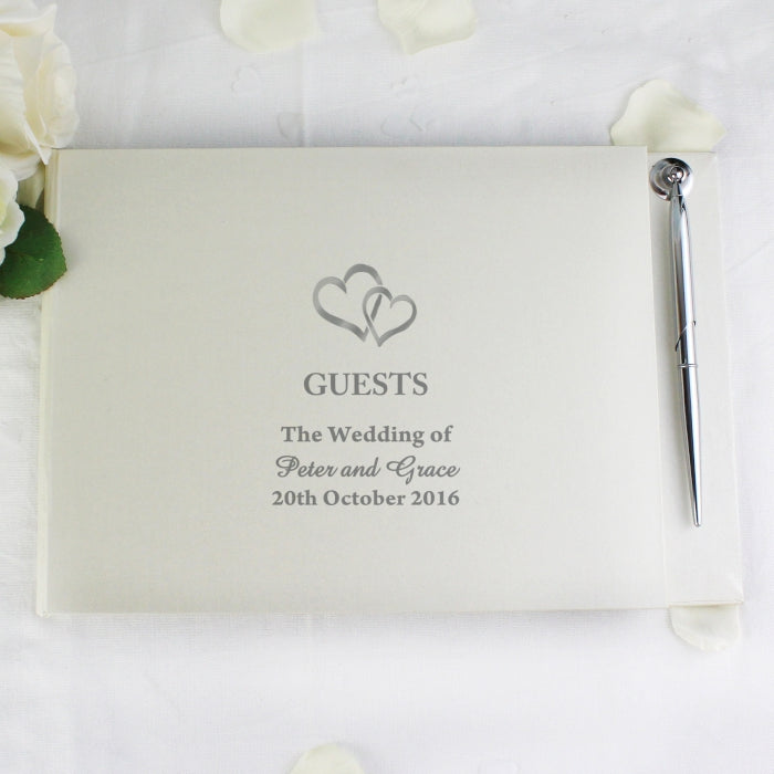 Personalised Hardback Guest Book & Pen Hearts Design